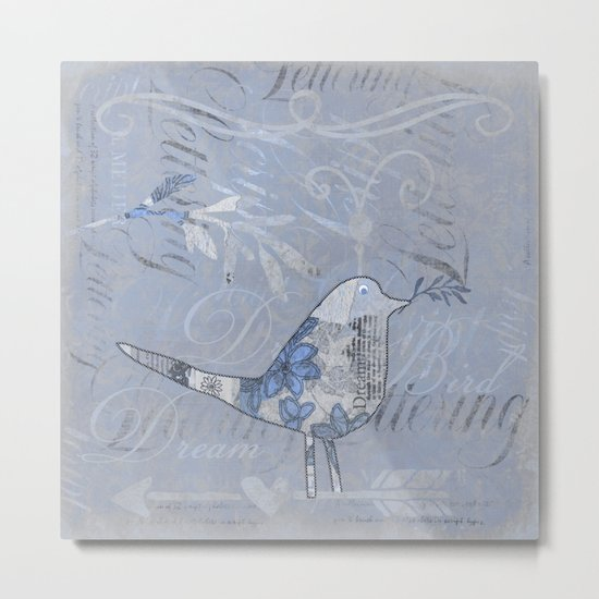 Blue Patchwork Bird Collage with Typography Metal Print
