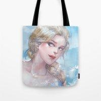 frozen elsa Tote Bags featuring Frozen Elsa by x3uu