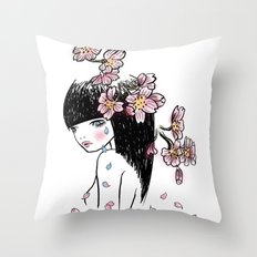 Sakura tears Throw Pillow