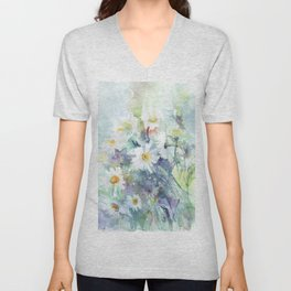 watercolor drawing - white daisies, beautiful bouquet, painting Unisex V-Neck