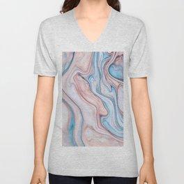 Marble  pink & blue Unisex V-Neck