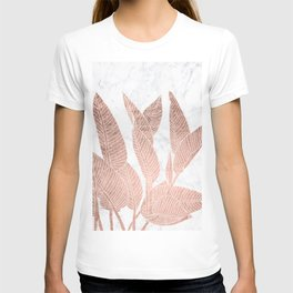 Modern faux Rose gold leaf tropical white marble illustration T-shirt