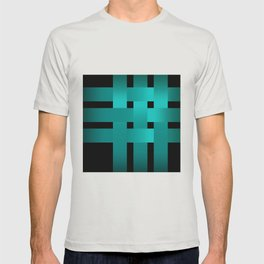 Abstraction .Weave turquoise satin ribbons . Patchwork . T-shirt