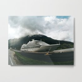 Cruise ship moored on norwegian fjord Metal Print