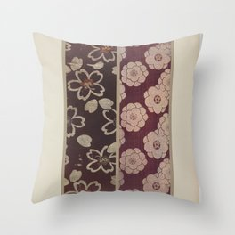 Verneuil - Japanese paper and fabric designs (1913) - 24: Seedlings and stylised flowers Throw Pillow
