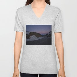 summit italy pass dolomites alps sunset snow serpentines color lines road Unisex V-Neck
