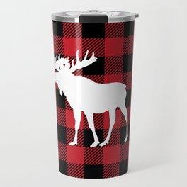 Red Buffalo Plaid Moose Travel Mug