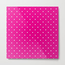 Small White Polka Dots with Pink Background Metal Print