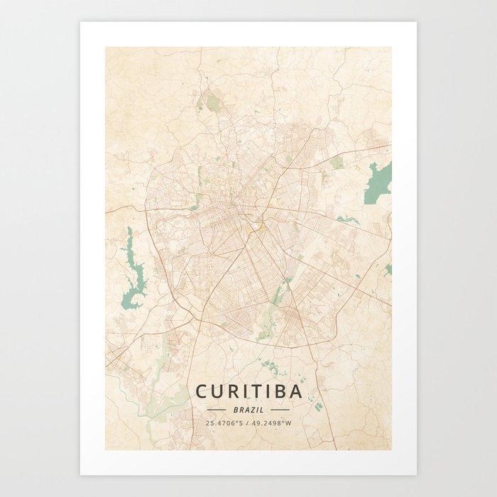 Curitiba, Brazil - Vintage Map Art Print