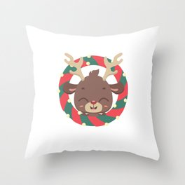 Cute reindeer and goodies in christmas stocking Throw Pillow