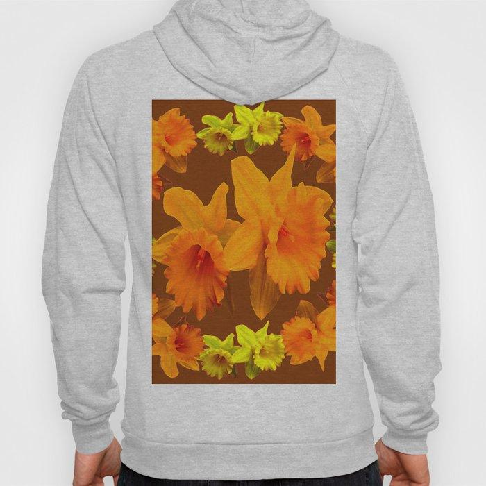 YELLOW SPRING DAFFODILS & COFFEE BROWN COLOR ART Hoody