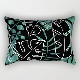 Dark tropical leaves pattern Rectangular Pillow