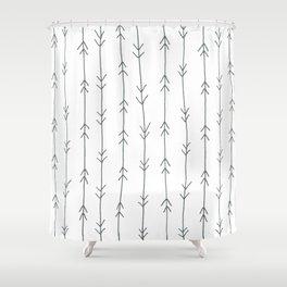 Grey, Steel: Arrows Pattern Shower Curtain