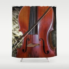 Cello with Bow a Stringed Instrument with Classical Sheet Music Shower Curtain