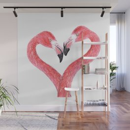 Flamingos in Love Wall Mural