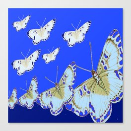 PATTERN OF BLUE & WHITE BUTTERFLIES MODERN ART Canvas Print