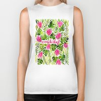 lime Biker Tanks featuring Tropical Wanderlust – Pink & Lime by Cat Coquillette