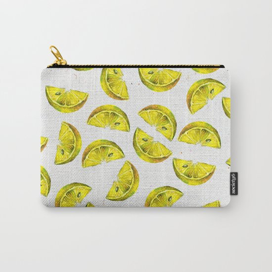 Lemon Slices Pattern White Carry-All Pouch