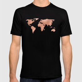 World Map Rose Gold Bronze Copper Metallic T-shirt