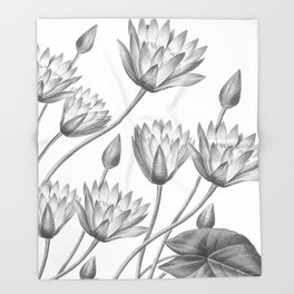 Water Lily Black And White Throw Blanket