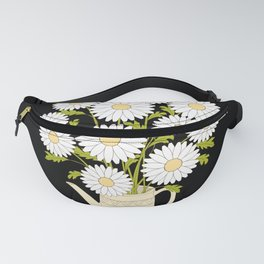 bouquet of camomiles in the vase on the black Fanny Pack
