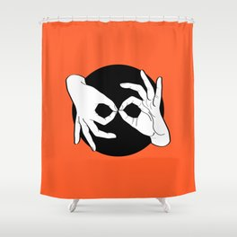 Sign Language (ASL) Interpreter – White on Black 08 Shower Curtain