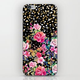 Modern watercolor spring floral and gold dots pattern iPhone Skin