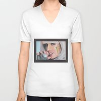 poker V-neck T-shirts featuring Poker Face by LilKure