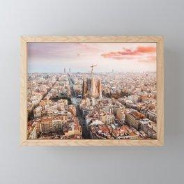 Sagrada Familia aerial sunset Framed Mini Art Print