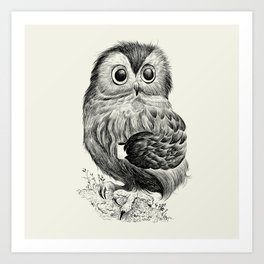 Little Espresso Owl Art Print