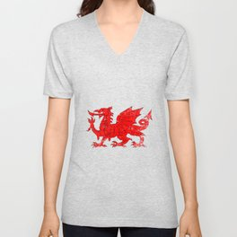 Welsh Dragon With Grunge Unisex V-Neck