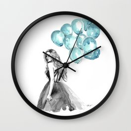 Balloons Turquoise  Wall Clock