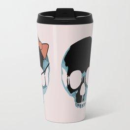 Blue skull with heart and bow Travel Mug