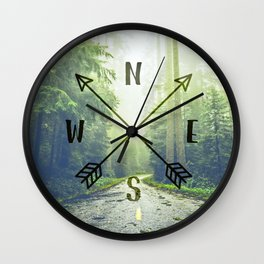 Compass in the Redwoods Wall Clock