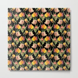 Vintage Floral Pattern | No. 3A | Tulips Metal Print