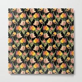 Tulips 2   Vintage Floral Pattern   Flower Patterns   Metal Print
