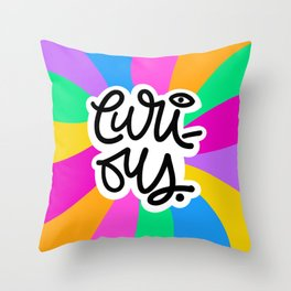 Curious in Multi Color Throw Pillow