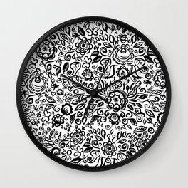 Vintage folk art floral ornament Black flowers on white background Wall Clock