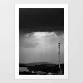 Stormy city in Black and White Art Print