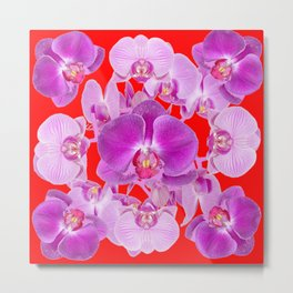 Modern Red Ornate Pink & Purple  Butterfly Orchids Metal Print