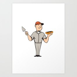 Bricklayer Mason Plasterer Standing Cartoon Art Print