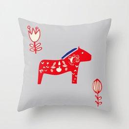 Dala Horse gray Throw Pillow