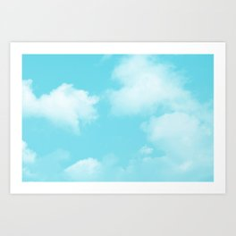 Aqua Blue Clouds Art Print