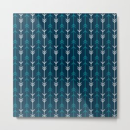 Teal Blue Minimalist Arrows Metal Print