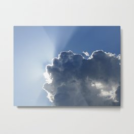 Sun Breaking Through Clouds Metal Print