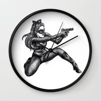 catwoman Wall Clocks featuring Catwoman  by Elizabeth A