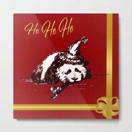 Christmas Panda Metal Print