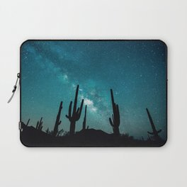 BLUE NIGHT SKY MILKY WAY AND DESERT CACTUS Laptop Sleeve