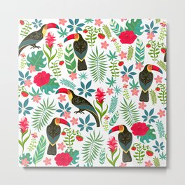 Decorative pattern with toucans, tropical flowers and leaves Metal Print