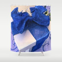 Hanukkah Gift Box With Blue Bow and Ribbons Shower Curtain
